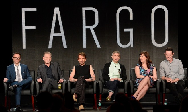 "From left, executive producers Noah Hawley and Warren Littlefield and cast members Billy Bob Thornton, Martin Freeman, Allison Tolman and Colin Hanks participate in the ""Fargo"" panel at the FX Winter TCA Press Tour, on Tuesday, January 14, 2014 at the Langham Huntington, in Pasadena, Calif. (Photo by Phil McCarten/Invision for FOX/AP Images)"