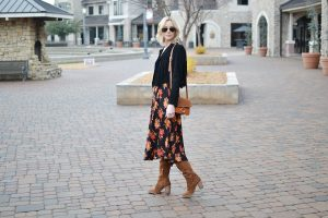 SheIn-dark-floral-midi-dress-black-suede-fringe-jacket-Dolce-Vita-over-the-knee-boots